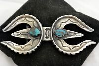 signed CARL LUTHY SHOP Navajo BELT BUCKLE Sterling Silver Double Naja TURQUOISE