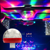 Mini DJ LED USB RGB Colorful Car Interior Roof Atmosphere Lamp Neon Light Night