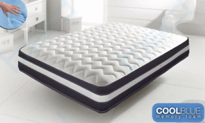 Cool Blue Memory Foam Mattress Sprung Matress 3ft Single 4ft6 Double 5ft King