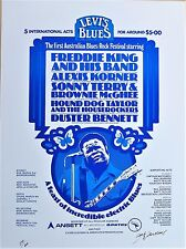 HOUND DOG TAYLOR BLUES FESTIVAL POSTER 70s LEVIS JEANS SIGNED Ian McCAUSLAND Art