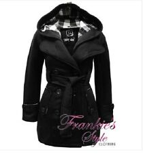 WOMENS LADIES BELTED HOODED FLEECE COAT JACKET WINTER PLAIN TOP 8-14