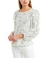 Vince Camuto Top Blouse Ivory Floral Long Sleeves Ruffled Sz XS NEW NWT 248