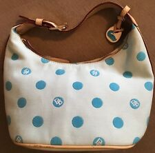 *REDUCED* Dooney & Burke Handbag Blue & Tan W/Gold Hardware Polka Dots & Key Fob