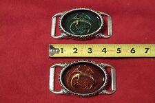 Fantasy Belt Buckle:  Dragon Under Acrylic - Red or Aquamarine