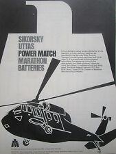 2/77 PUB MARATHON NICKEL CADMIUM BATTERIES SIKORSKY UTTAS HELICOPTER ORIGINAL AD