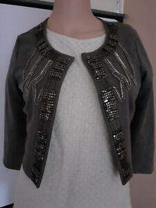H&M Women's Cropped Open Stylish Jacket, Size XS, Long Sleeve, BLU356