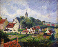 Camille Pissarro The Village Of Knokke Landscape Painting Print on CANVAS Giclee