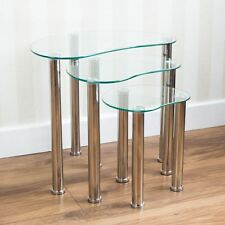 Cara Nest Of 3 Tables Clear Silver Glass Modern Furniture New By Home Discount