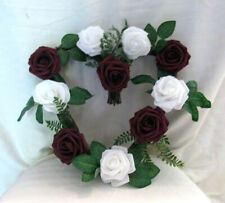 Grapevine Heart Wreath with Burgundy and White Roses