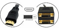 HDMI Male v1.4 to Dual DVI-D Female (24+1) pin Splitter Video Adaptor for PC LCD