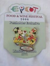 Epcot Food & Wine Festival Pin Mickey & Minnie Mouse Pass Holder Exc Lim Ed