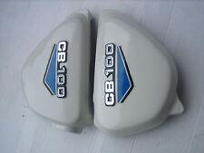HONDA 100 CB100 K2 Side Frame Cover W Blue Decal + Emblem Badge Mount Clip Set