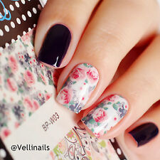 2 Sheets Born Pretty Nail Art Water Decals Transfer Sticker Tips Flower Leaves