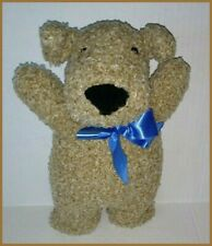 "Vtg 1998 Oatmeal Dog Puppy Plush North American Bear 10"" Brown Blue Bow Squeaker"