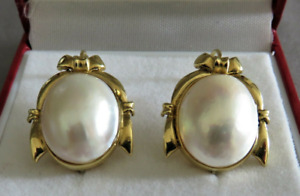 LARGE 18CT GOLD MABE PEARL STUD  EARRINGS.    ref:xDHODd
