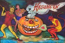 ON SALE ORIGINAL PAINTING HALLOWEEN DEVILS GHOULS JOL FIRE PUMPKIN FOLK ART