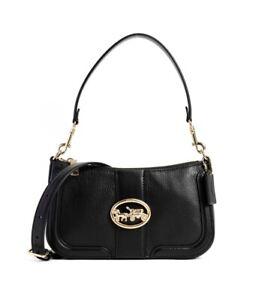 NWT Coach 5500 Georgie Baguette Leather Shoulder Bag Crossbody in Black $328