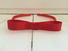 Red Matilda Style Snow White Satin Girls Hairband Headband Alice Band Red Bow