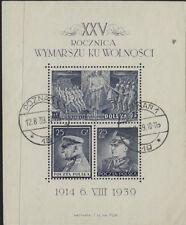 Pologne: 1939 25th anniversaire de la bataille de Polonais Légions M/S MBS 358 A Utilisé