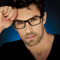 Clear Lens Square Men Eyeglasses Black Brown Plastic Frame Retro Fashion Glasses
