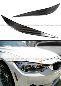 FOR 2014-19 BMW F80 M3 F82 F83 M4 CARBON FIBER HEADLIGHT EYE LID COVER EYEBROWS
