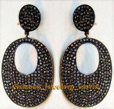 Diamond Silver Danglers Earring Jewelry Artdeco Estate 6.34cts Genuine Rose Cut