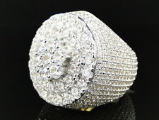 Mens New Sterling Silver Rocky Road Lab Diamond Pinky Ring Finished In Yellow