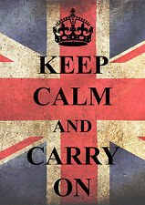 KC06 KEEP CALM AND CARRY ON A3 POSTER PRINT