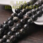 50pcs 6mm Round Natural Stone Loose Gemstone Beads Black Imperial Jasper