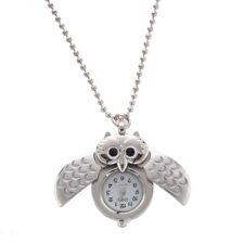 quartz watch necklace pendant silver plated owl L9W2