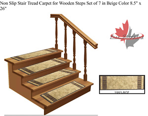 """Non Slip Stair Tread Carpet for Wooden Steps Set of 7 in Beige Color 8.5"""" x 26"""""""