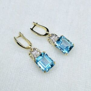 NATURAL BLUE TOPAZ EARRINGS IN STERLING SILVER GOLD PLATED & RING 6-10, 8845SL