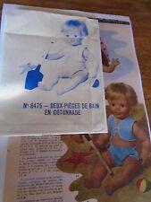 """T3 PATRON POUPEE  MICHEL"""" M & TRAVAUX""""  DEUX PIECES DE BAIN   1965"""