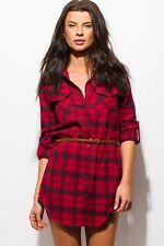 Women's Plaid Flannel Belted Button-Down Long Sleeve Cotton Mini Shirt Dress NEW