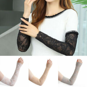 1 Pair Women Arm Sleeves Lace Long UV Sun Protection Driving Cycling Arm Warmers