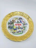 Vintage Sabin Crest O Gold Warranted 22K Gold Colonial Souvenir Iowa Plate 10""