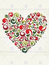 PAINTING ABSTRACT LOVE HEART SHAPE INSET RED SWIRL VECTOR POSTER PRINT BMP11026