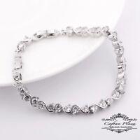 Tennis Armband Bracelet 18K Weiss gold Plt mit Swarovski Kristallen AAA+ NEU