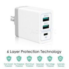 3-Port USB 3.0 & PD 3.0 Power Adapter Wall Charger for Samsung Galaxy S9+ G965U