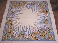 "Vintage Tablecloth Stylized Daffodils & Foliage Mustard Brown Teal Red 46"" x 52"""