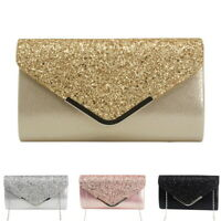 Women Girl Envelope Clutch Bag Solid Color  Purse Party Shoulder  Handbag