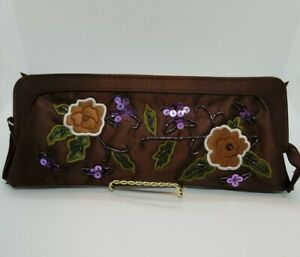 Sequined Clutch Evening Handbag Brown With Flowers