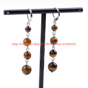 6/8/10mm Multicolor Gemstone 4 Beads Round Beads Dangle Leverback Earrings