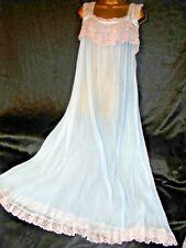 Amazingly 60s vtg sheer nylon nightie negligee 50 chest cd/tv blue pleated
