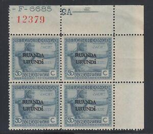 Ruanda Urundi Sc 15 MNH. 1924 50c Archer, Corner Block w/ Plate & Accounting Nos