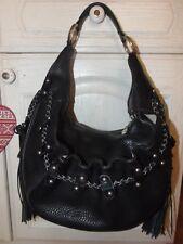 Stunning Large Luella Bartley Black Thick studded Tassel Leather HOBO BOHO Bag