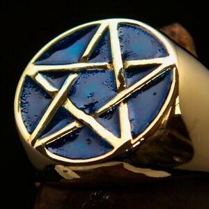 ROUND CELTIC PENTAGRAM BRASS RING FIVE POINT PENTACLE STAR BLUE SIZE 11