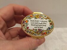 New listing Halcyon Days Enamels Trinket Pill Box floral flowers Think Deeply Speak Gently