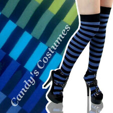 Black + BLUE/GREEN Stripe OVER-THE-KNEE Costume SOCKS Thigh-High COSPLAY Striped
