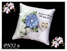 ~ Personalised wedding ring cushion pillow with rings holder box & PEARL ~